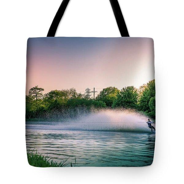 Water Skier At Sunset Tote Bag