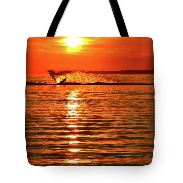 Water Skiing At Sunrise  Tote Bag
