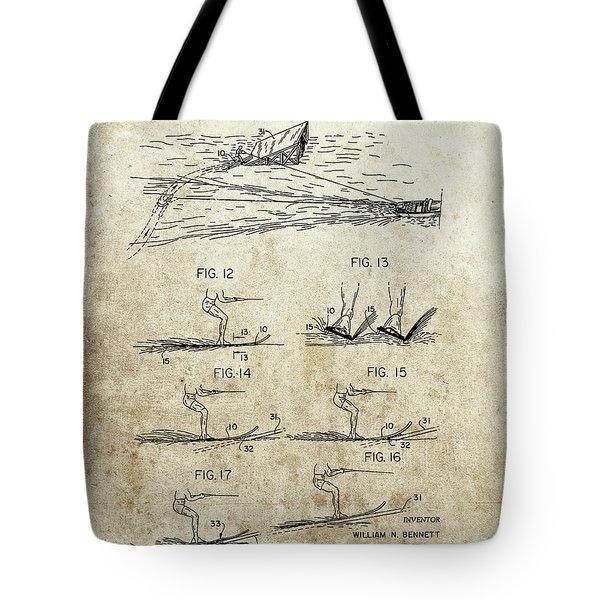 Water Skis Patent Tote Bag