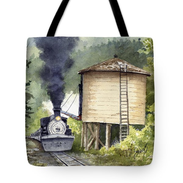 Tote Bag featuring the painting Water Stop by Sam Sidders