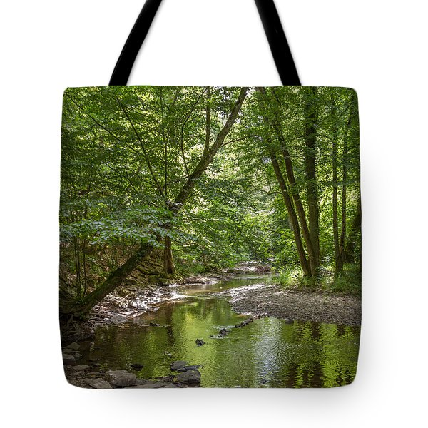 Water Stream In The Forest Tote Bag