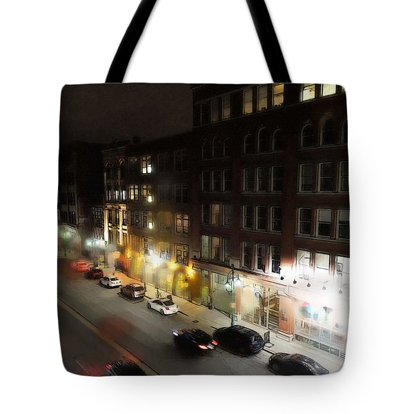 Tote Bag featuring the digital art Water Street Looking South From The Marshall Building by David Blank