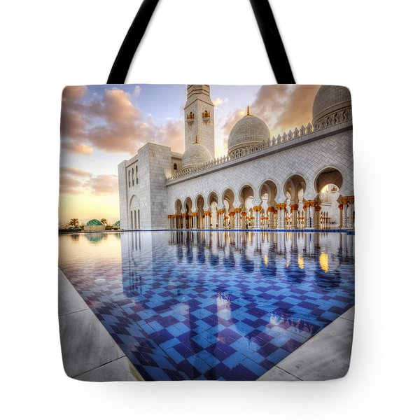 Water Sunset Temple Tote Bag