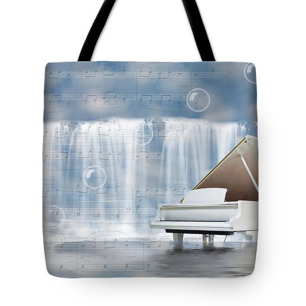 Water Synphony For Piano Tote Bag by Angel Jesus De la Fuente