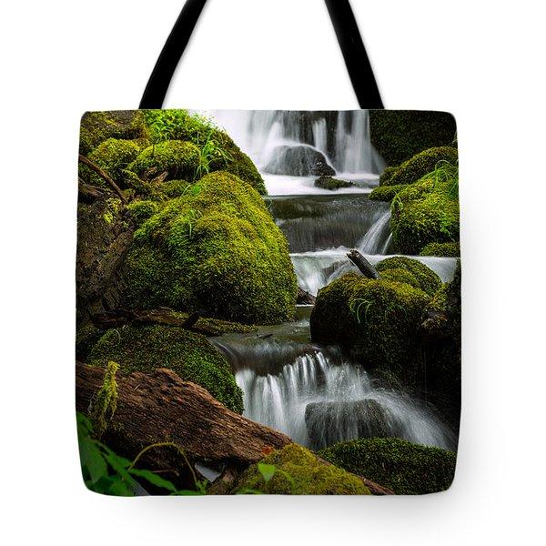 Water Through Mossy Boulders Tote Bag