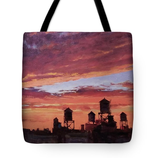 Water Towers At Sunset No. 4 Tote Bag