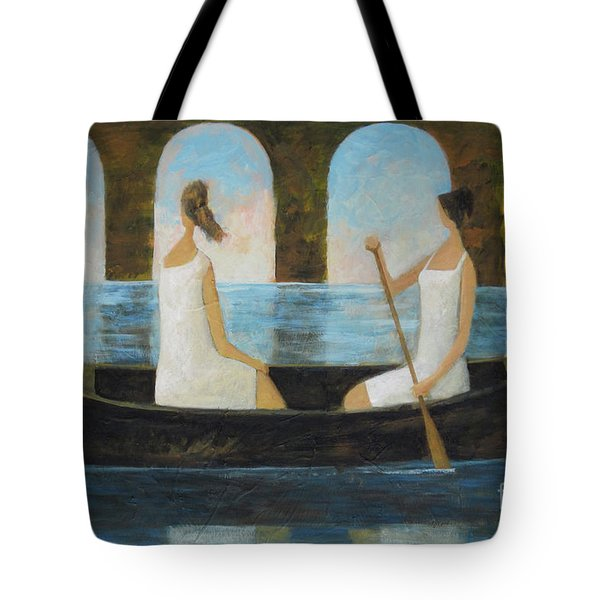 Tote Bag featuring the painting Water Under The Bridge by Glenn Quist