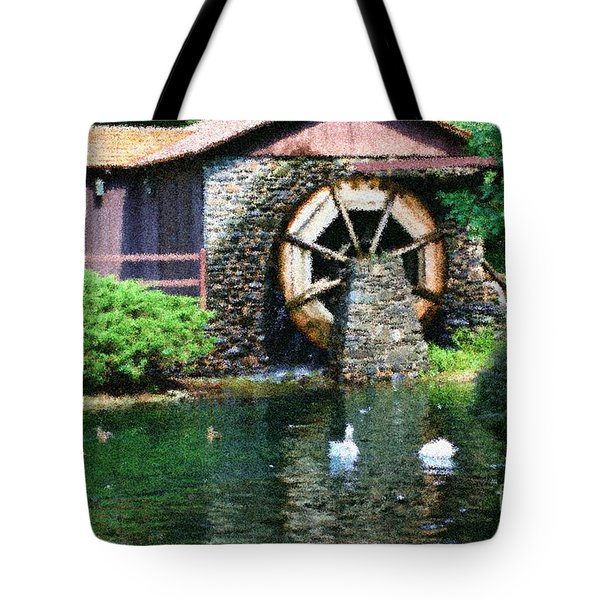 Tote Bag featuring the painting Water Wheel Duck Pond by Smilin Eyes  Treasures