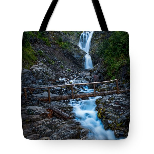 Waterall And Bridge Tote Bag