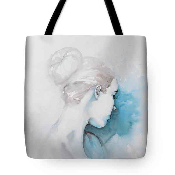 Watercolor Abstract Girl With Hair Bun Tote Bag