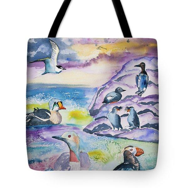 Watercolor - Alaska Seabird Gathering Tote Bag
