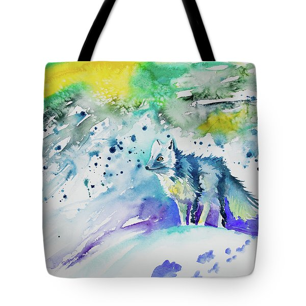 Watercolor - Arctic Fox Tote Bag