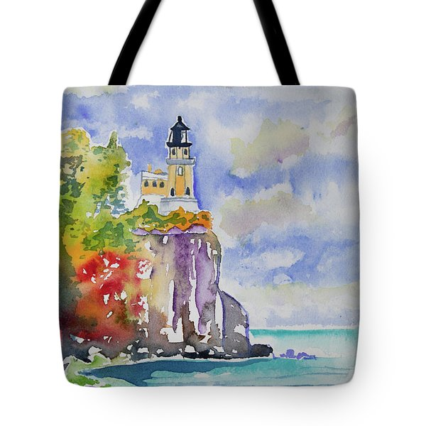 Watercolor - Autumn At Split Rock Lighthouse Tote Bag