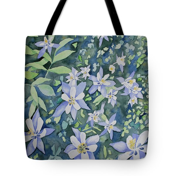 Watercolor - Blue Columbine Wildflowers Tote Bag