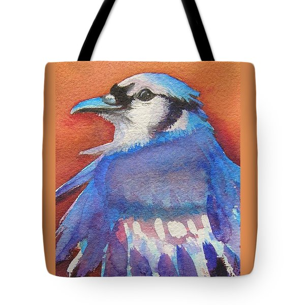 Tote Bag featuring the painting Watercolor Blue Jay by Patricia Piffath