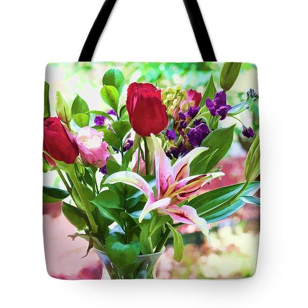 Watercolor Bouquet Tote Bag