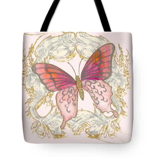 Watercolor Butterfly With Vintage Swirl Scroll Flourishes Tote Bag