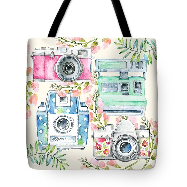 Watercolor Cameras And Flowers Tote Bag