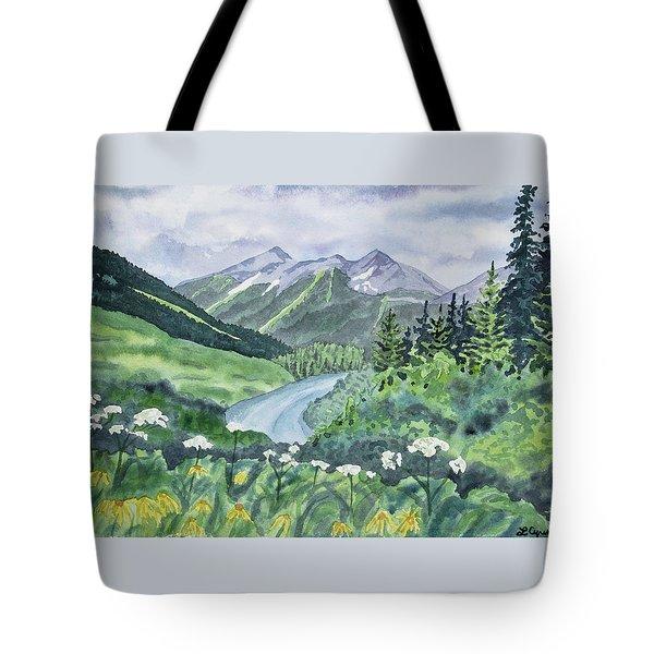 Watercolor - Colorado Summer Landscape Tote Bag