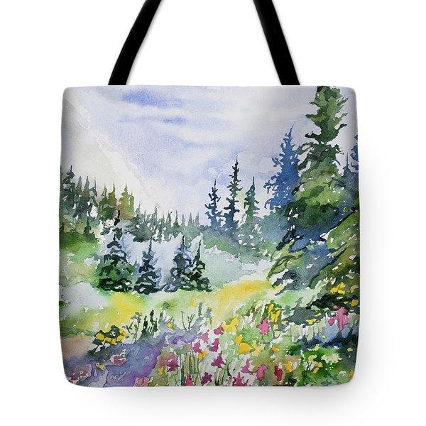 Watercolor - Colorado Summer Scene Tote Bag