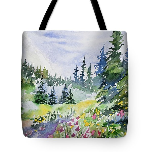 Watercolor - Colorado Summer Scene Tote Bag