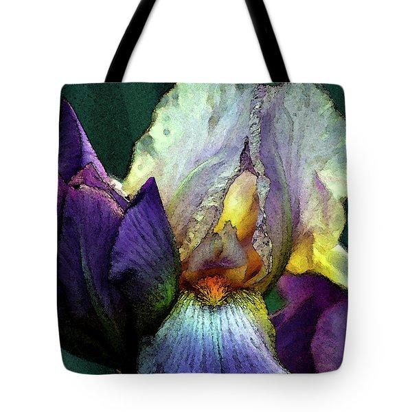Watercolor Cream And Purple Bearded Iris With Bud 0065 W_2 Tote Bag
