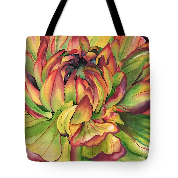 Watercolor Dahlia Tote Bag