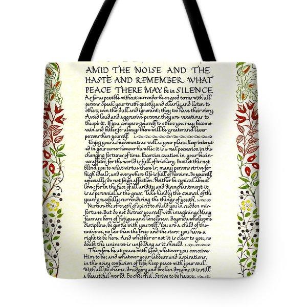 Watercolor Desiderata Wild Flower Design Tote Bag