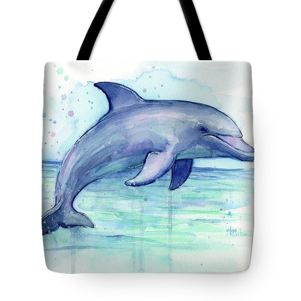 Watercolor Dolphin Painting - Facing Right Tote Bag