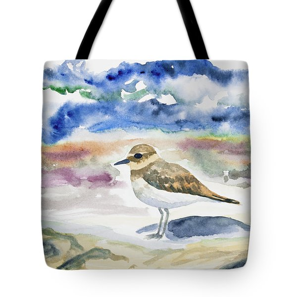 Watercolor - Double-banded Plover On The Beach Tote Bag