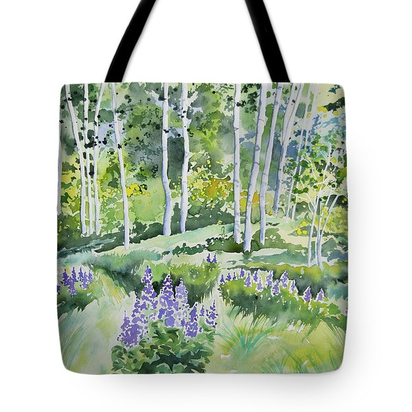 Watercolor - Early Summer Aspen And Lupine Tote Bag