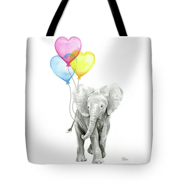 Watercolor Elephant With Heart Shaped Balloons Tote Bag