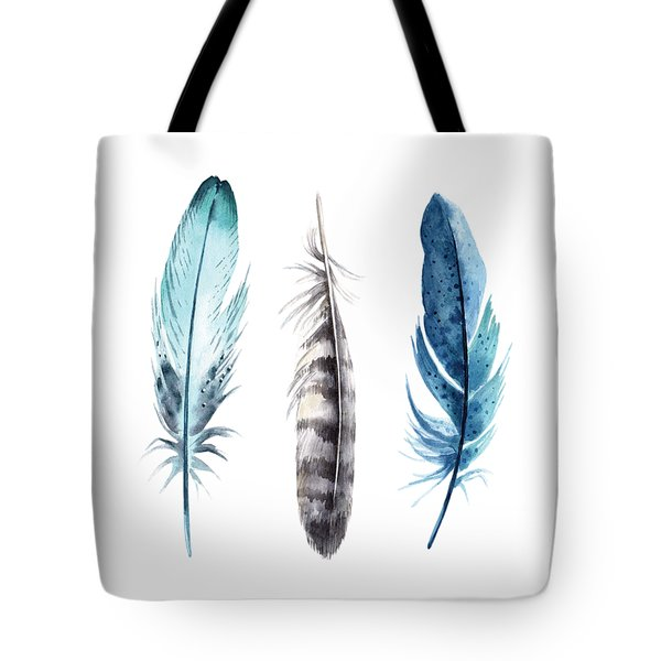 Tote Bag featuring the digital art Watercolor Feathers by Jaime Friedman