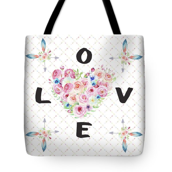 Tote Bag featuring the painting Watercolor Flowers Arrows Love Typography by Georgeta Blanaru