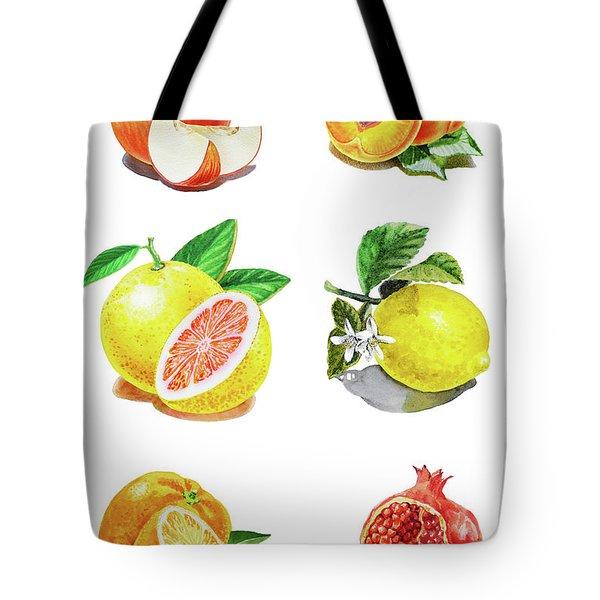 Watercolor Food Illustration Fruits Tote Bag