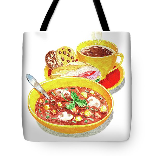 Watercolor Food Illustration Full Lunch Tote Bag
