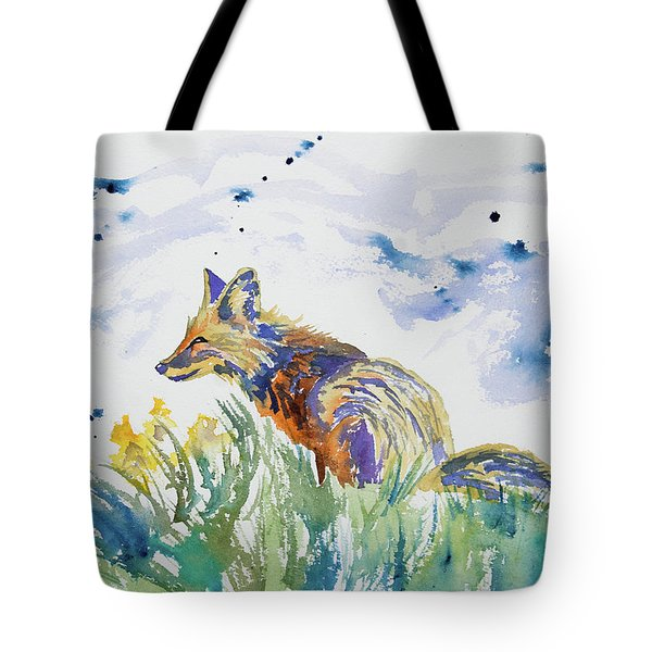Watercolor - Fox On The Lookout Tote Bag