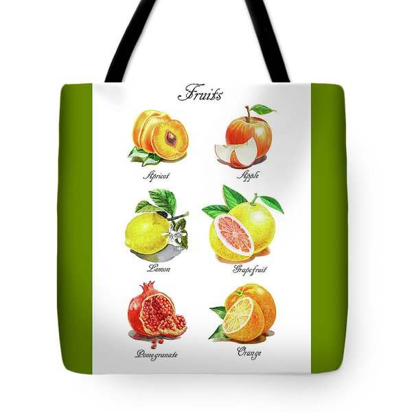 Watercolor Fruit Illustration Collection I Tote Bag