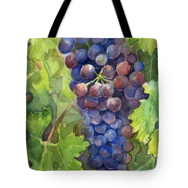 Watercolor Grapes Painting Tote Bag by Olga Shvartsur
