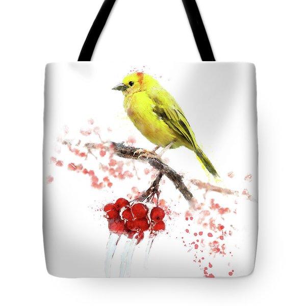Watercolor Image Of  Yellow Bird Tote Bag