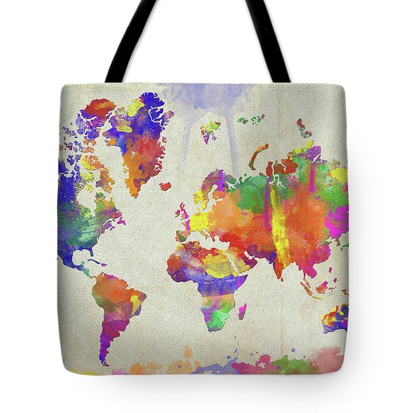 Watercolor Impression World Map Tote Bag