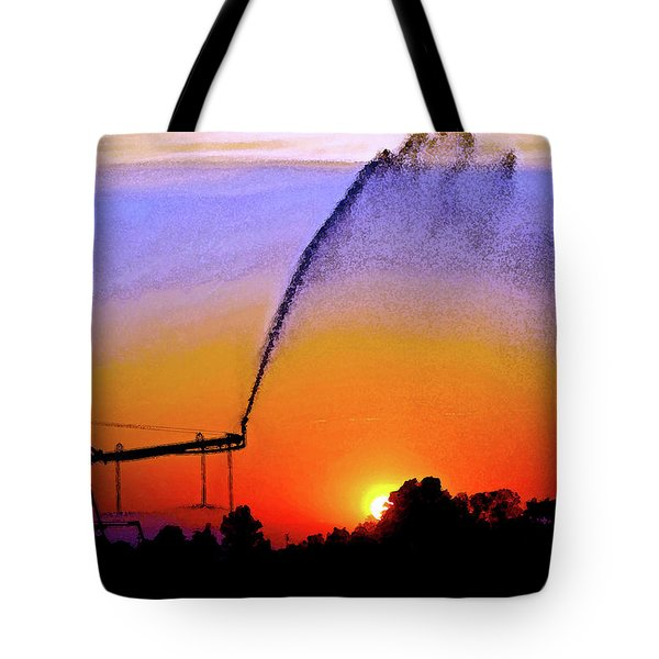 Watercolor Irrigation Sunset 3243 W_2 Tote Bag