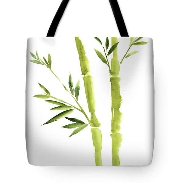 Bamboo Stick Wall Paper Art, Watercolor Living Room Decor Illustration, Green Bamboo Leaves Painting Tote Bag