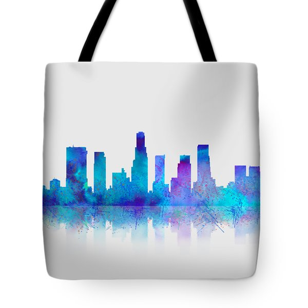 Tote Bag featuring the digital art Watercolor Los Angeles Skylines On An Old Paper by Georgeta Blanaru