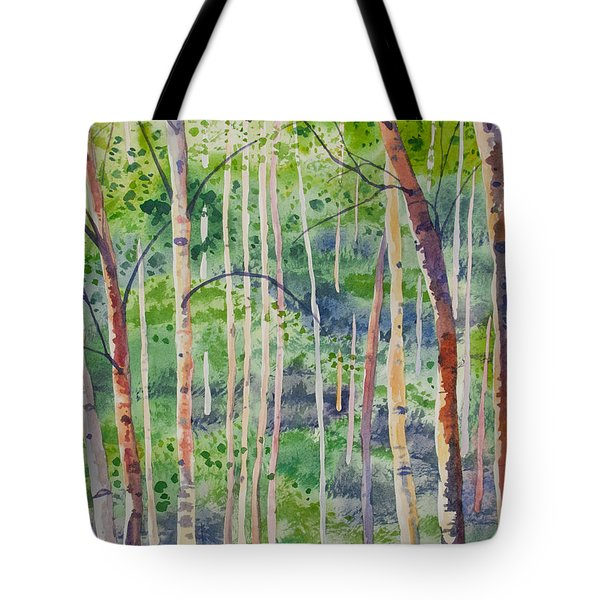 Watercolor - Magical Aspen Forest After A Spring Rain Tote Bag