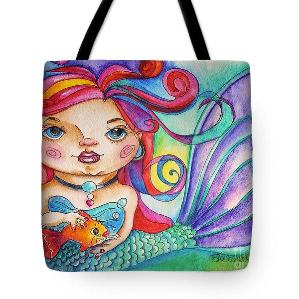 Watercolor Mermaidia Mermaid Painting Tote Bag by Shelley Overton