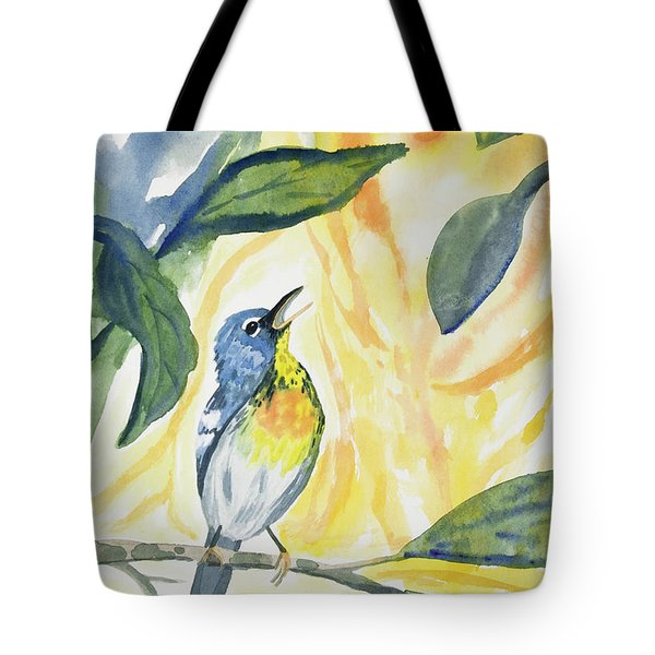 Watercolor - Northern Parula In Song Tote Bag