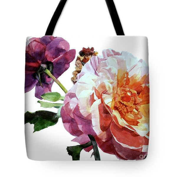 Watercolor Of Two Roses In Pink And Violet On One Stem That  I Dedicate To Jacques Brel Tote Bag