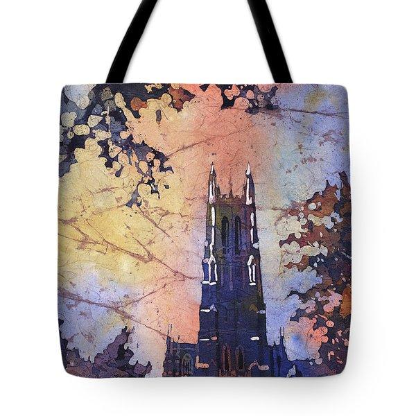 Watercolor Painting Of Duke Chapel On The Duke University Campus Tote Bag