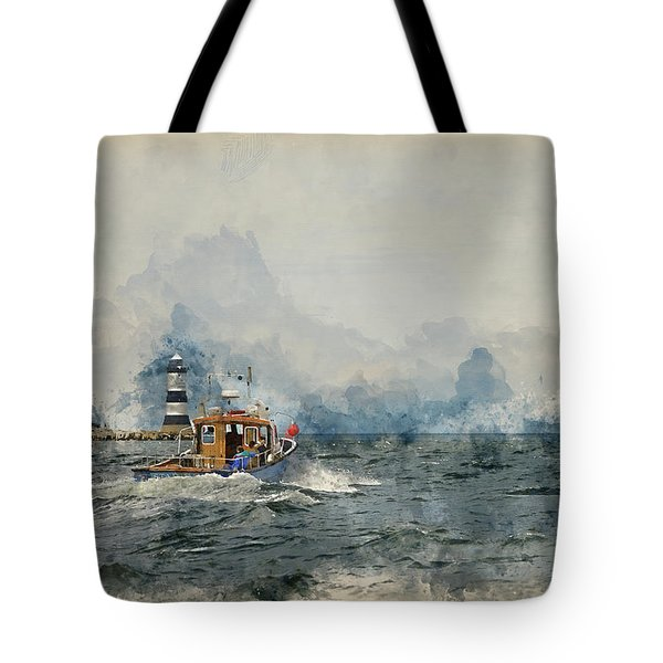 Watercolor Painting Of Pleasure Cruise Boat On Menai Straits In Anglesey Wales. Tote Bag